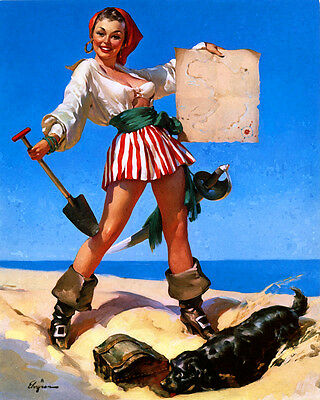 Pirate PUB BAR PIN UP GIRL SHABBY CHIC  Retro ENAMEL METAL TIN SIGN WALL PLAQUE