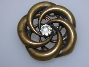 LOVELY-ANTIQUE-VICTORIAN-GOLD-WASHED-CIRCLE-PIN-PENDANT-W-FOILED-BRILLIANT