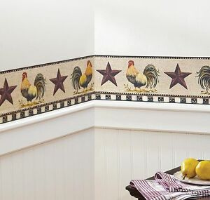 French-Country-Primitive-Rooster-amp-Stars-Checkered-Wallpaper-Border-Wall-Decals