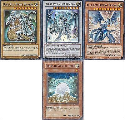Azure-Eyes + Blue-Eyes White Dragon + Blue-Eyes Shining Dragon + Stone - Yugioh