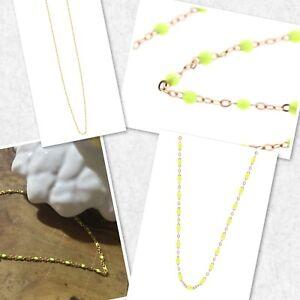 Collier-Ras-De-Cou-Perles-Jaune-Fluo-Resine-Plaque-Or-Reglable-Ref-Gigi2-Promo