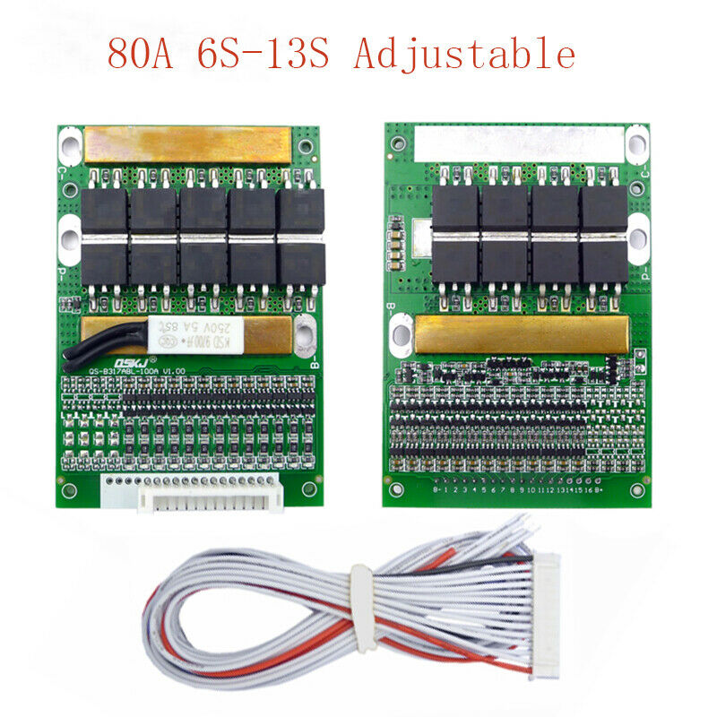 6S-13S 3.7V 80A Balancing Li-ion Lithium Battery BMS Boards With Balance