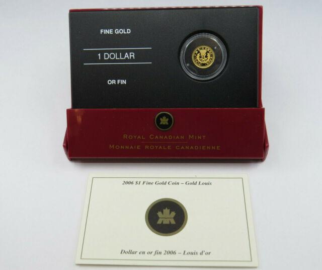 2006 1/20 oz One Dollar Gold Coin Proof 9999 Fine Au Gold Louis $1 RCM Canada