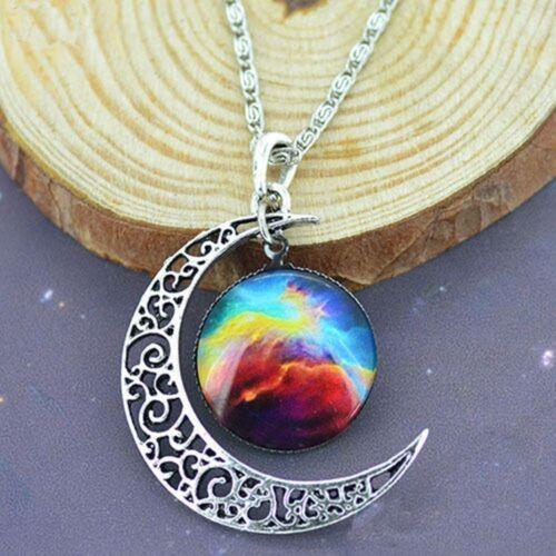 Fashion Jewelry & Watches Women Glass Cabochon Crescent Moon ...