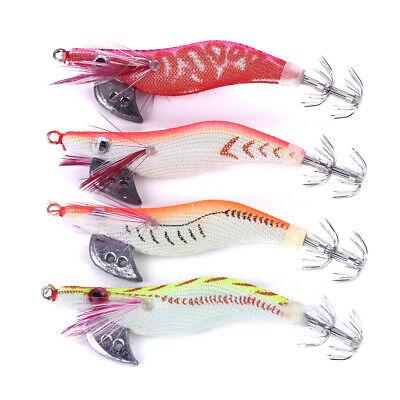 4PCS//Pack Lot Shrimp Lures Octopus Squid Jigs Fishing Tackle Hook Bait 8cm//7.5g
