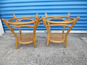 Details About Pair Bamboo End Tables Side Hollywood Regency Round Rattan Mid Century Modern 2