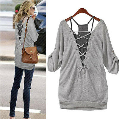 New Fashion Women's Loose Long Sleeve Cotton Casual Blouse Shirt Tops&Blouse