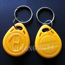 100pcs RFID 125KHz  Proximity ID Token Tag Key Keyfobs Chain Yellow TK4100