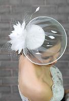 Ladies Satin Wedding Bridal Hat Ivory/white Hair Comb Swarovski Beads