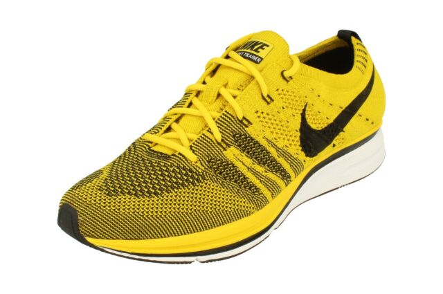 9e5e1e49cb8bd Nike Flyknit Trainer Bright Citron Black Men Running Shoes SNEAKERS ...