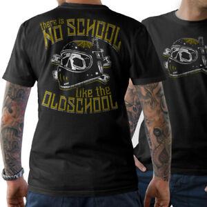 Biker-T-shirt-there-is-no-School-like-the-Oldschool-Skull-Chopper-Cafe-Racer-MC