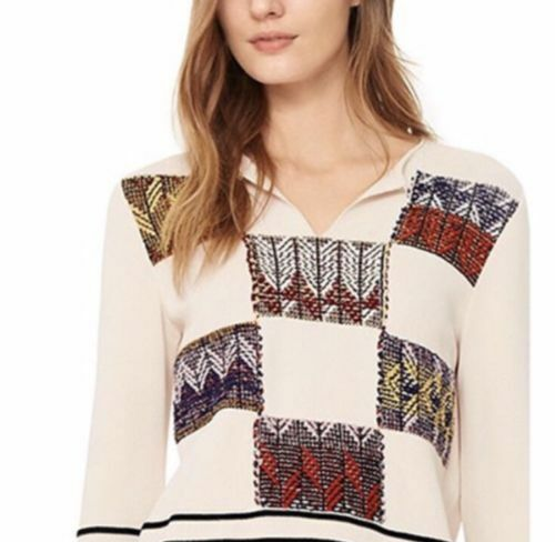Tory Burch Patchwork Pueblo Blanket Basket Weave Pattern Sweater Top S/P 495