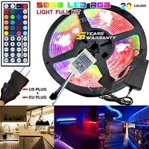 Waterproof-LED-Strip-Light-5M-RGB-5050-300-SMD-44-Key-Remote-12V-Power-Full-Kit
