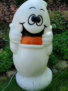 Vintage-Blow-Mold-034-TREAT-034-Ghost-Drainage-Halloween-Dual-C7-Lighted-Ghost-HTF