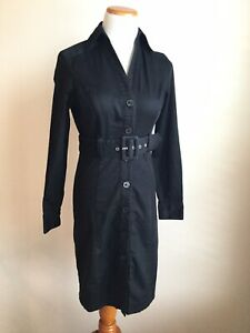 The Limited Shirt Dress Black Button Down Long Sleeve Belted Stretch ... 573701481