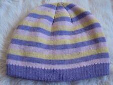 Girl s Lilac Lemon Pink Candy Striped Medium knit warm Beanie Hat Ski 8  -Teens 5fe3800d3f01