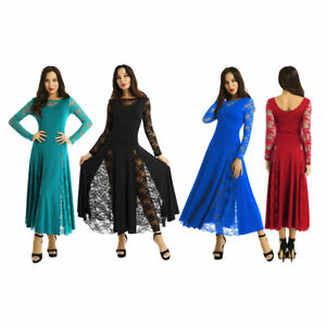 Womens-Adult-Long-Sleeve-Lace-Splice-Waltz-Tango-Modern-Full-Lyrical-Dance-Dress