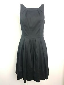 PORTMANS Black A-Line Pleated Dress Women's Size 10 Pockets Belted AU MADE CUTE