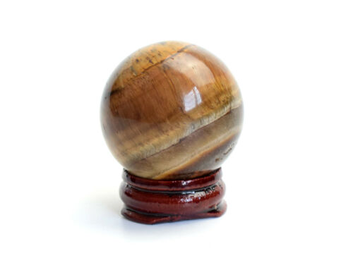 40 MM Tiger Eye Stone Carved Crystal Reiki Healing Sphere Ball with a Wood Stand