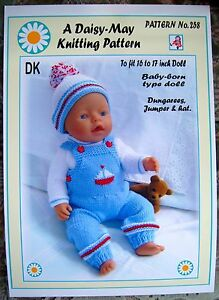 Daisy May Dolls Knitting Patterns : 1 DOLLS KNITTING PATTERN for BABY BORN or 16 to 18 inch doll No 258 by Daisy-...