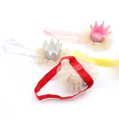 Baby Girl Shiny Princess Tiara Hair Band Headband Kids Elastic Crown Headwear /_7