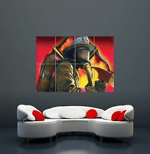 FIREFIGHTER BREATHING APPARATUS AXE MASK FIRE GIANT POSTER ART PRINT X2880