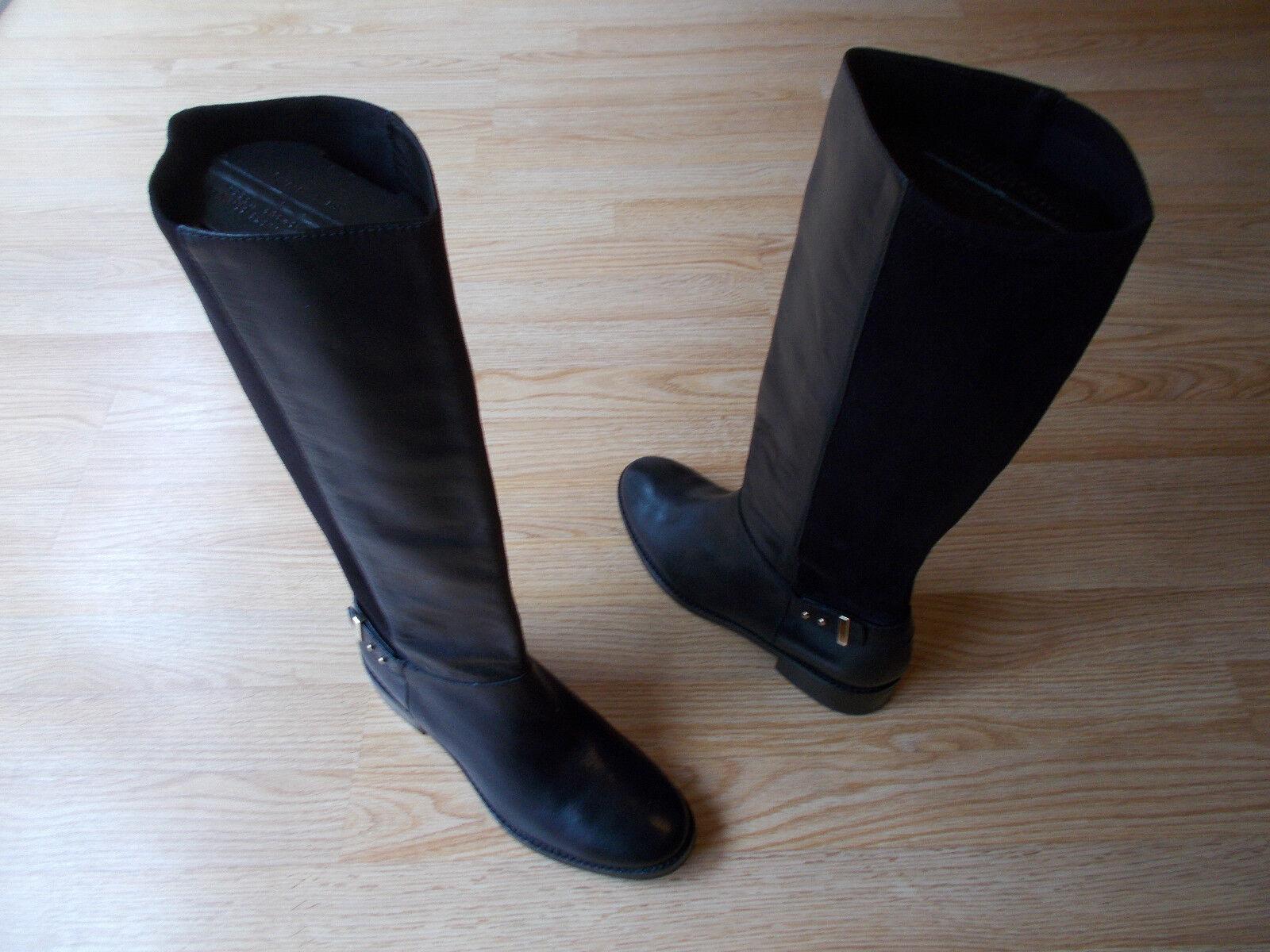 Cole Haan Adler Alto botas De Montar Gamuza Cuero Negro Tire de 9.5 B Nuevo