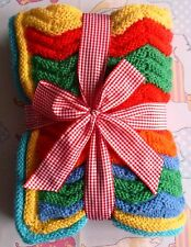 Rainbow Ripple Baby Blanket Afghan Throw Knitting Pattern. Call the Midwife!
