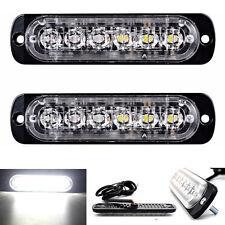 2PCS White 6 LED Strobe Flash Light Warning Hazard Emergency Lamp for Car Truck