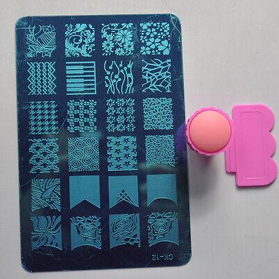 1 Nail Art Stamp Image Plates Stamper & 1Pcs Stamper Scraper Tools Set