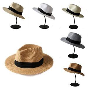 a586911c1b739 New Women Lady Fedora Trilby Wide Brim Straw Hat Summer Pananma Cap ...