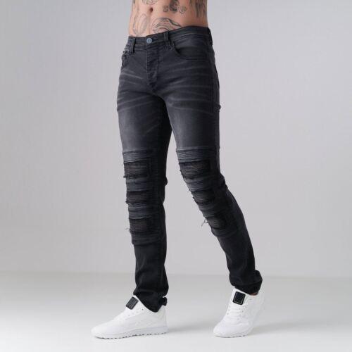 Pantalon Noir Ripped Slim Fit Denim hommes Jeans Born Panel Cesc Pantalon pour Rich Coton pfO7n