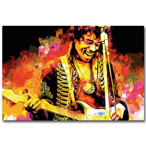 Jimi Hendrix Guitarist Music Rock Singer Silk Fabric Poster 13x20 24x36 inch