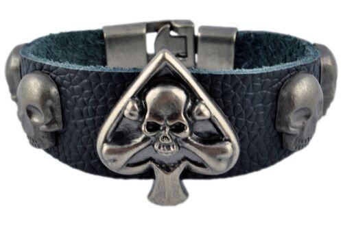 TG00170 Totenkopf Schädel Lederarmband Surfer Skelett Punk Rocker Skull Herren