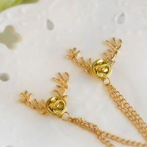 Elk-Stud-Shirt-Deer-Head-Animal-Chain-Pin-Brooch-Collar-Neck-Tip-Gold-Cool-Gift