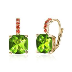 PERIDOT-Green-GEMSTONE-18K-GOLD-925-STERLING-SILVER-Women-039-s-Girls-HOOP-EARRINGS