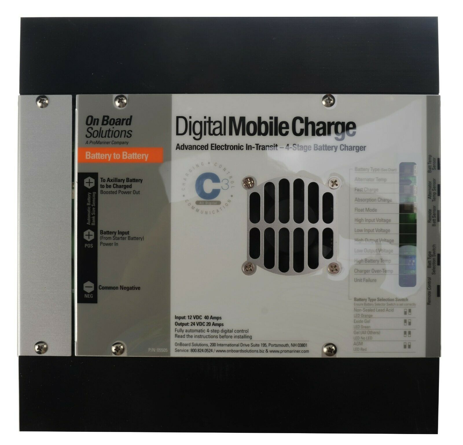 12v To 12v ProMariner Digital Mobile Charge40 Advanced Electronics In-Transit 4 Stage Battery Charger