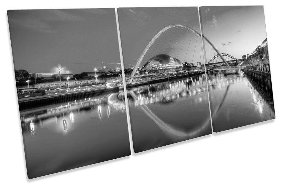 Newcastle River Tyne Bridges Sunset B&W TREBLE CANVAS WALL ART Picture Print