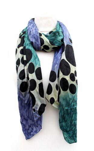 schwarz//blau NEU Damen Tuch Schal Halstuch Stola 100/% Polyester grosse Punkte