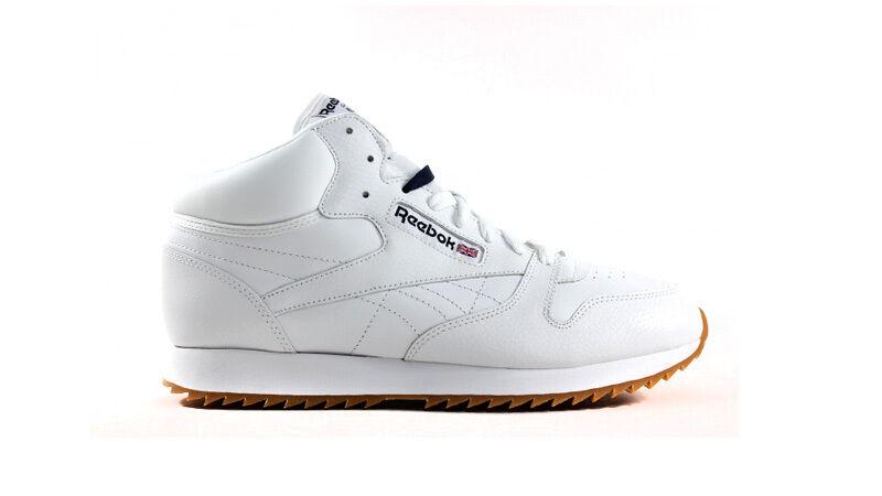 Reebok Men's CL LTHR MID RIPPLE GUM Shoes NEW AUTHENTIC White Navy Gum V61554