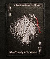 ACE OF SPADES GRIM REAPER DEATH CARD SILVER DARK OP HOOK & LOOP MORALE PATCH