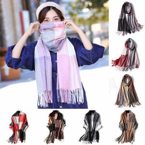 Womens-Plaid-Checked-Pashmina-Long-Scarf-Cashmere-Tassels-Shawl-Wrap-Winter-Warm
