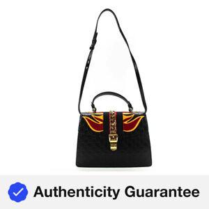 Gucci Womens Medium Guccisima GG Sylvie Flames Satchel Handbag SRTSTY14  Black