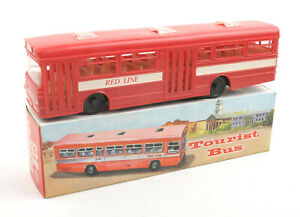 Vintage-SI-Hong-Kong-Plastic-Friction-Red-Line-Tourist-Bus-S-7004-BOXED