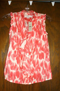 8fd2f0a6118a37 ANN TAYLOR LOFT ANIMAL PRINT TIE NECK SHELL RED   BEIGE NWT  44.50 ...