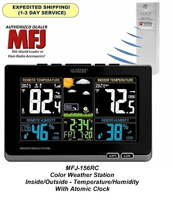 MFJ-156RC Color Weather Station Inside/Outside Temp/Humidity - With Atomic Clock
