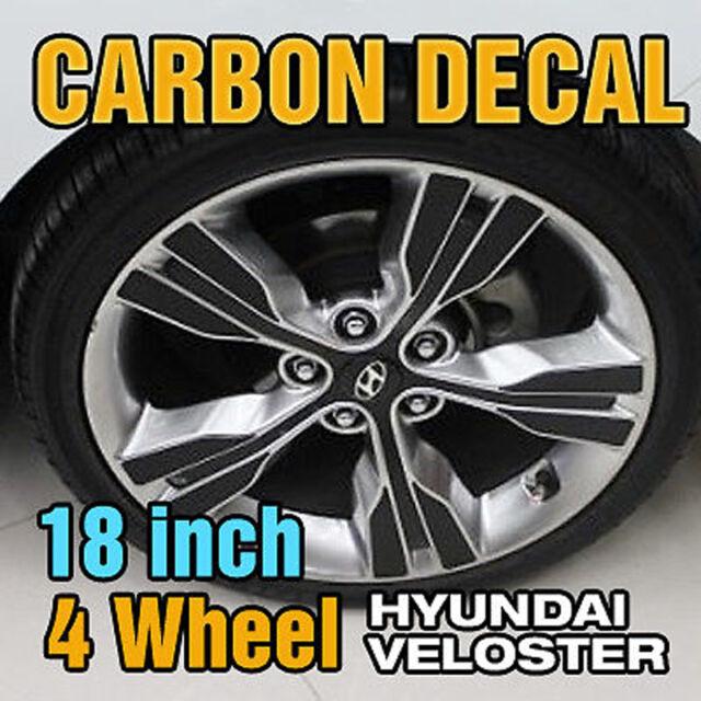 "For HYUNDAI 11+ Veloster Carbon Black Spoke Wheel Vinyl Decal Sticker 18"" 48Pcs"