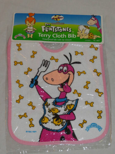 NEW 1994 THE FLINTSTONES TERRY CLOTH DINO PINK BABY BIB HANNA BARBERA #2