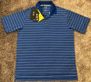 068 NWT Authentic Adidas Climalite Golf Shirt Blue Stripe Polyester Mens Size M