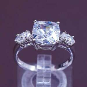 vintage Sterling 925 silver engagement anniversary ring with cluster Cz Size 8 stamped 925